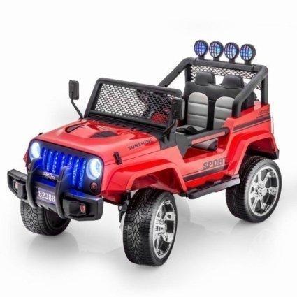 Электромобиль Jeep S2388 красный цвет (2х местный, полный привод, колеса резина, кресло кожа, пульт музыка)